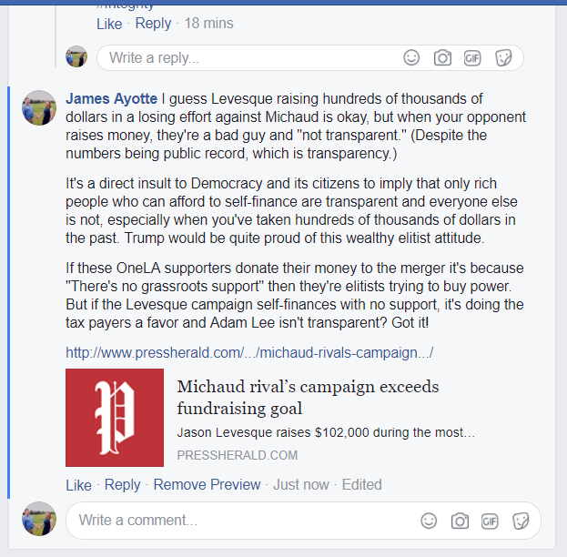 levesque campaign finance fb post 2
