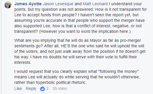 levesque campaign finance fb post 5 dodging